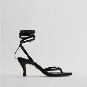 Heeled leather squared toe sandals ZARA